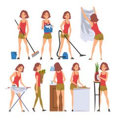 Housewife character household activities vector