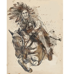 Indian chief riding a horse vector