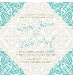 invitation blue damask vector image