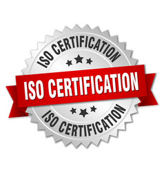 iso certification round isolated silver badge vector image
