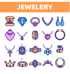 jewelery line icon set diamond luxury vector image