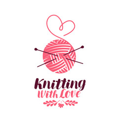 knitting logo or symbol ball of yarn with needles vector image