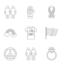 LGBT icons set outline style vector