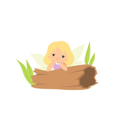 little forest fairy sitting on hollow log lovely vector image
