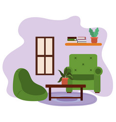 living room chairs table with potted plant shelf vector image