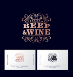 logo beef and wine restaurant luxury business card vector image