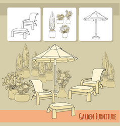 lounge chairs under patio umbrella and flowers in vector image