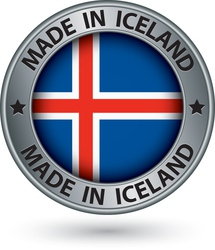 Made in Iceland silver label with flag vector image