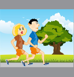 Man and woman run vector