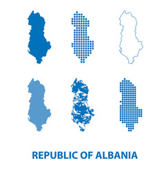 map of republic of albania - set of silhouettes vector image