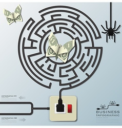 Maze Spider Web With Money Butterfly Electric Wire vector image