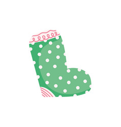 merry christmas celebration dotted green sock vector image