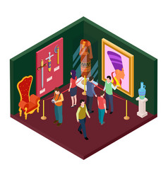 Museum exhibition hall with art objects isometric vector