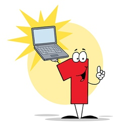 Number 1 Character Holding A Laptop vector image