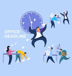 office deadline flat set vector image