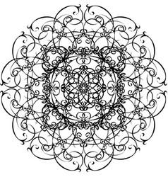 ornamental black mandala hand drawn design vector image