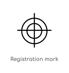 Outline registration mark icon isolated black vector