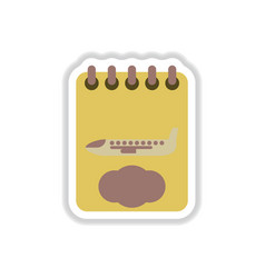 Paper sticker on white background airplane vector