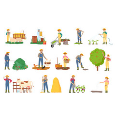 People farming cow and sheep tending animals vector