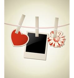 Photo frame with heart and flower for valentines d vector
