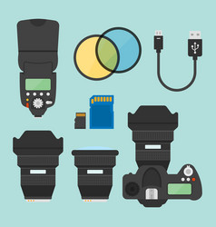 photography equipments flat design elements vector image