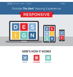 Responsive design website template vector image