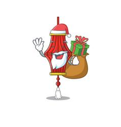 Santa with gift chinese paper lanterns cartoon vector