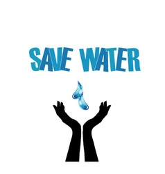 Save water- hands saving water vector image