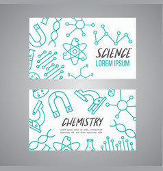 Science chemistry cards set research outline vector