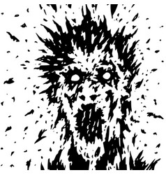 screaming face of a ghost with protruding vector image