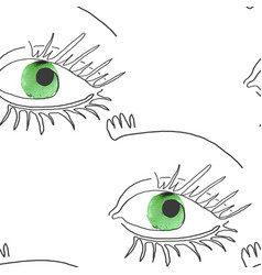 seamless pattern with eye one line vector image