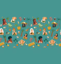 seamless pattern with women in swimsuit on vector image