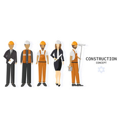 set a team construction workers vector image