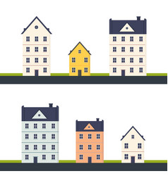 Set city house building modern building vector