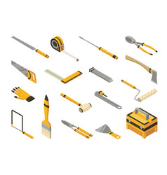 set isometric hand tools detailed icons vector image