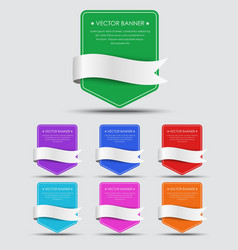 Set of colorful banners with ribbon vector image