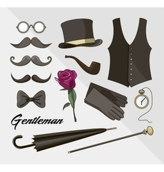 Set of elements for gentlemen vector