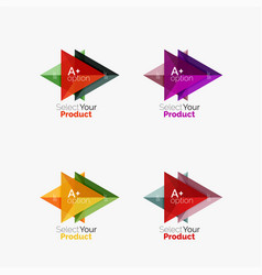 set of triangle infographic layouts with text and vector image