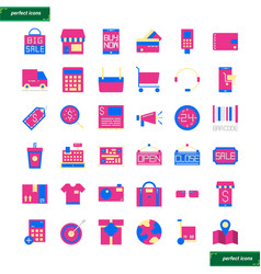shopping and ecommerce flat icons set vector image