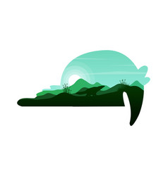Silhouette of tapir on the hill at sunset vector