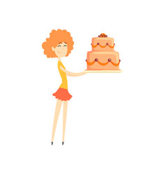 Smiling redhead girl holding big festive cake vector