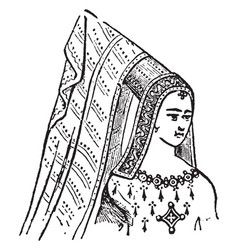 Steeple head-dress vintage engraving vector