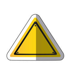 Sticker yellow triangle traffic sign vector