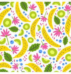 Summer seamless pattern with fresh exotic fruits vector