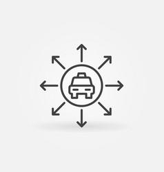 taxi car with arrows concept icon in vector image