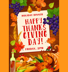 thanksgiving day dinner invitation poster design vector image