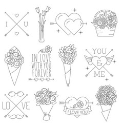 thin line valentine decorations vector image