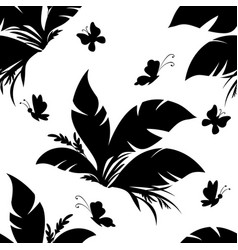 tile pattern plant and butterfly vector image vector image