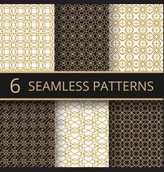 trendy gold geometric seamless patterns vector image