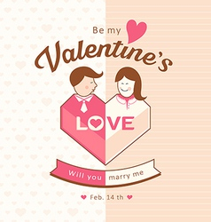 Valentines man and woman love design vector image